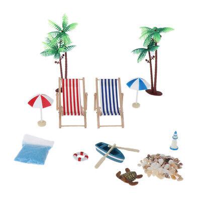 1/12 Puppenhaus Miniatur Strand Mikrolandschaft Boot + Boot + Sonnenschirm +