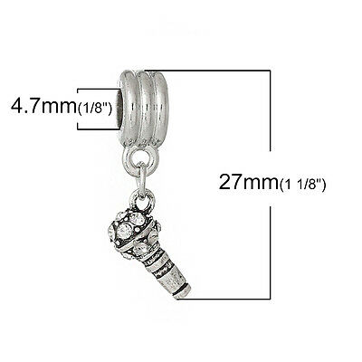 """Microphone with Colored Crystals"" Charm Bead  for Most European Sn… Charms & Charm Bracelets"