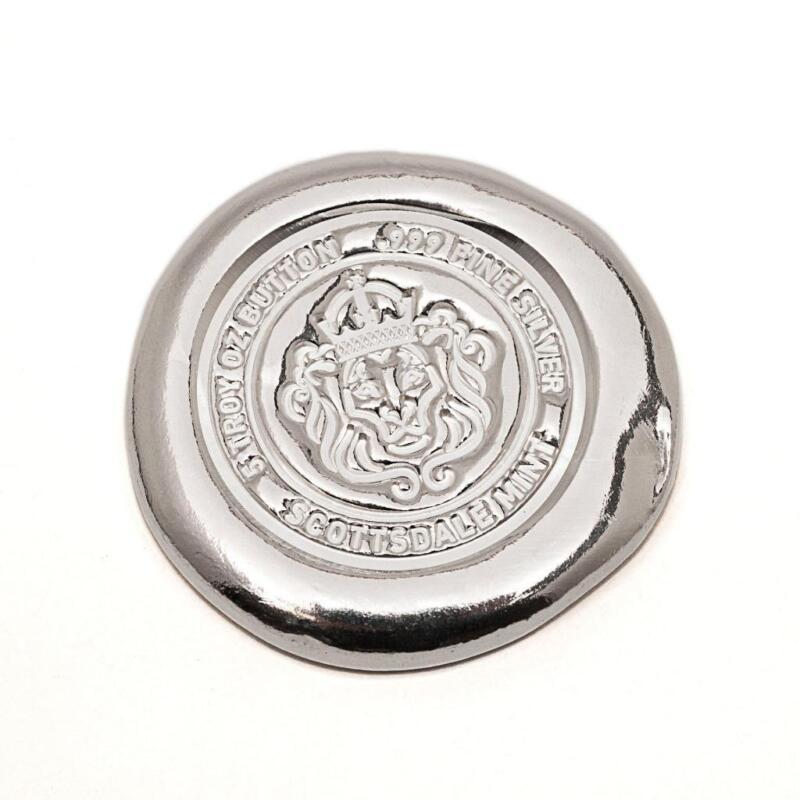 5 oz Scottsdale Silver Button .999 Fine Silver Bullion #A264