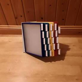 Durable Vario Desk Display Unit Complete with 20 Tabs and 20 Panels A4 Assorted colours