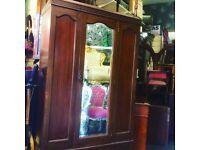 Vintage mirror fronted wardrobe