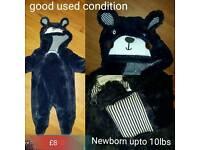 Blue fluffy bear snow suit newborn upto 10lbs