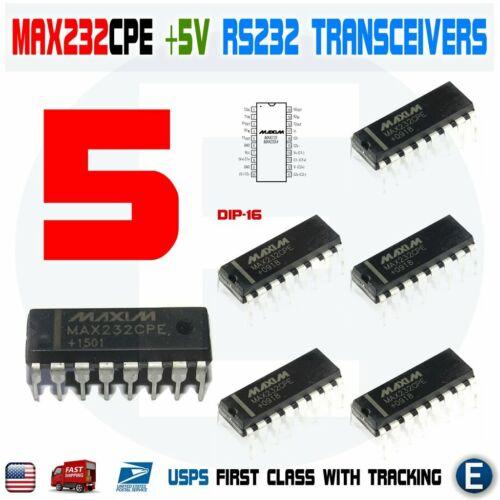 5pcs MAX232CPE MAX232 2DVR/2RCVR RS232 5V Multichannel RS-232 Drivers/Receivers