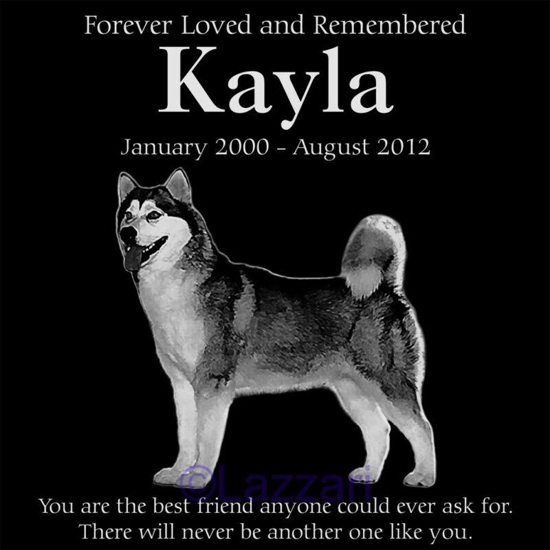 """Personalized Alaskan Malamute Dog Pet Memorial 12"""" Customized Granite Headstone"""