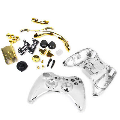 Chrome Silver Shell+Bullet Buttons for Xbox 360 Wireless Controller