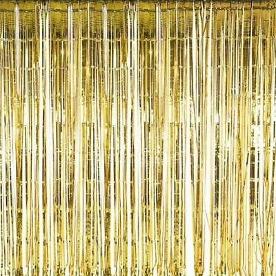 GOLD Metallic Fringe Foil Curtains Celebratory Party Decor Hanging Streamer 2 pc](Gold Metallic Fringe Curtain)