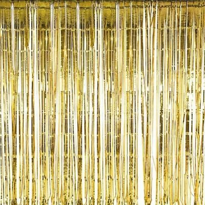 GOLD Metallic Fringe Foil Curtains Celebratory Party Decor Hanging Streamer 2 pc](Gold Fringe Curtain)
