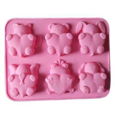 6 Cavity Cat Bear Dog Rabbit Elephant Frog With Heart Cake Baking Mold Soap Mold