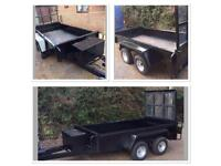 Indespension Twin Axle Plant Trailer Inc Tool box, drop Loading tailboard 8ft x 4ft