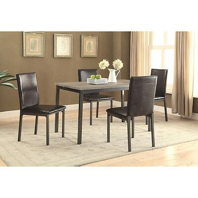5 Piece Dining Set with Weathered Top and Black Chairs by Coaster 100611-100612