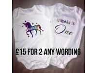 Personalised baby vest body suits 2 for £15
