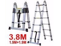 3.8 A Frame Folding Telescopic Multi Purpose Ladder Steps Home Work Office Painting Multi Purpose