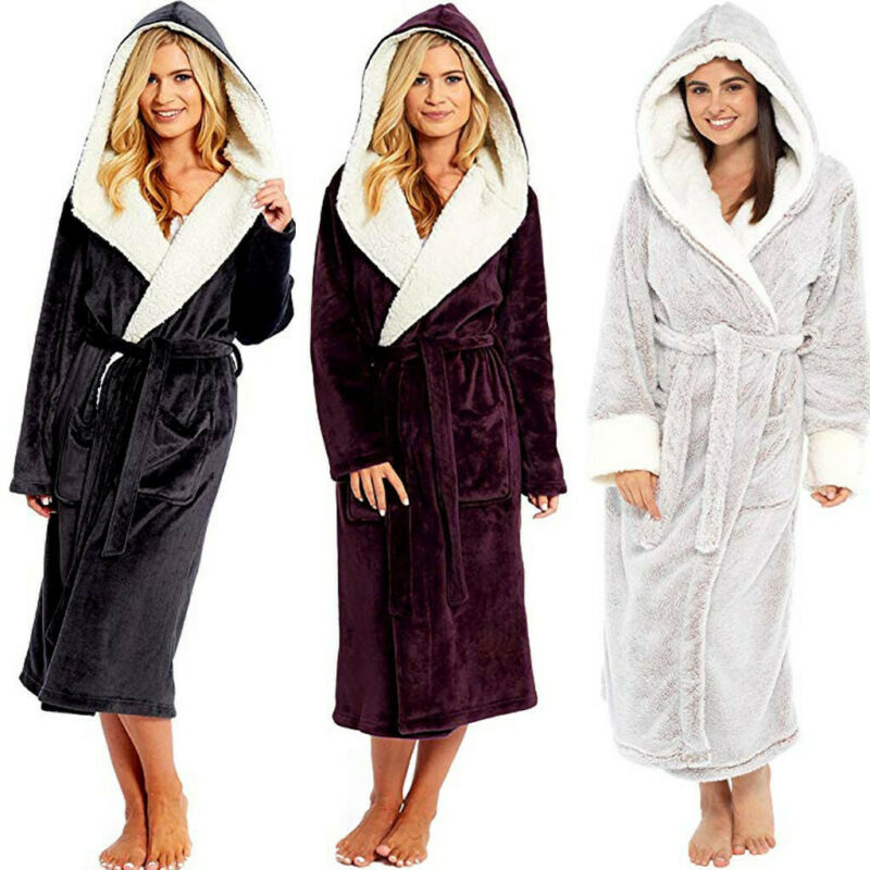 Women Winter Hooded Dressing Gown Bath Robe Flannel Fleece R