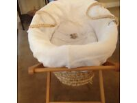 Mamas and Papas Moses basket and stand with matching duvet