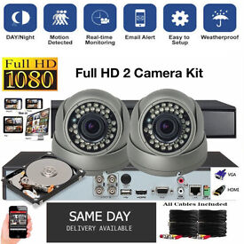 Full HD 1080p CCTV Security Camera Kit / 2x 1080p Dome Cameras / 1080p DVR with Hard Drive / Cables.