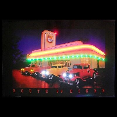 Route 66 Diner Neon / LED Lighted Picture 3R66NL w/ FREE Shipping