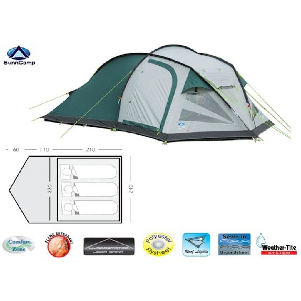 SunnCamp Evolution 300 3 person tent | in Killingworth, Tyne and Wear | Gumtree