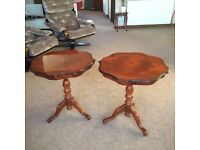 2 ornate inlaid mahogany occasional tables