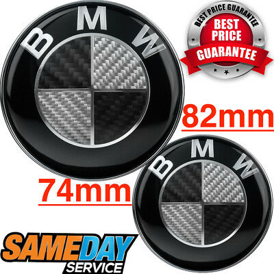 BMW Badge BLACK REAL CARBON FIBER SET Emblem Boot Bonnet 1 3 5 6 7 Z X E SERIES