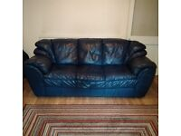 DFS Navy Midnight Blue Leather 3 Seater Sofa