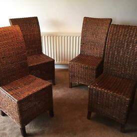 Set of 4 rattan dining chairs
