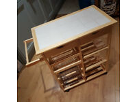 Living Pine Tile Top Kitchen Trolley