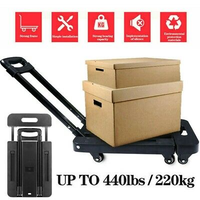 Folding Cart Hand Truck Dolly Push Collapsible Trolley Luggage Heavy Duty 440lb