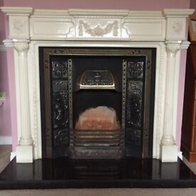 Traditional 16in cast iron fire place with surround in excellent condition