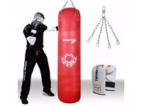 TurnerMAX Red Genuine Leather Punching Bag For Boxing MMA Martial Arts Cowhide 4ft 5ft, 6ft New