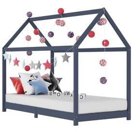 Kids Bed Frame Grey Solid Pine Wood 70x140 cm-283352