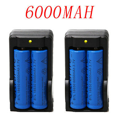 4PC 6000mAh BRC 3.7v 18650 Rechargeable Li-ion Battery+2XSmart Charger on Rummage