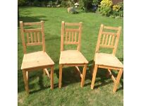 3 Pine Kitchen Chairs and solid oak table