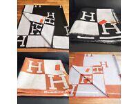 Hermes ORANGE Avalon 'H' Cashmere Designer Blanket. Great Christmas / Xmas present /