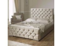 BRAND NEW CHESTERFIELD CRUSHED VELVET BED FRAME SILVER, BLACK AND CREAM COLOURS**SAME DAY DELIVERY**
