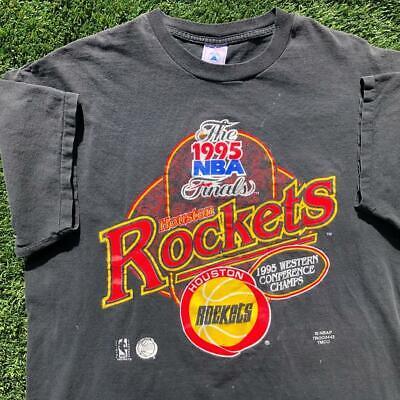 Rare VTG 90s Delta Houston Rockets 1995 NBA Champions SINGLE STITCH T Shirt XL