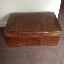 Brown Leather Ottoman/Footstool