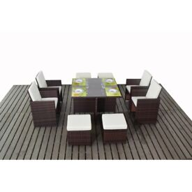 Brown Rattan Cube Dining Set with Footstools (Seats 8)