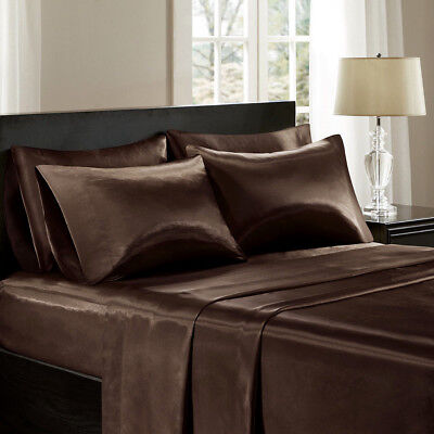 Soft Silk Feel Satin Coffee Brown 4 piece Deep Pocket Sheet Set for King Bed New