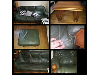 Set of green leather, sofa three, armchair, ottoman, coffee table.