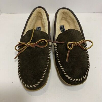 Polo Ralph Lauren Mens Moccasins Brown Leather Slip On Faux Fur Lined 12 EUR (Polo Ralph Lauren On Line)