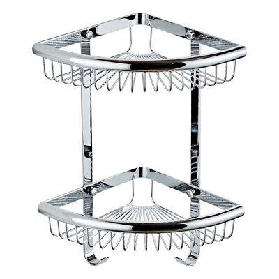 Corner Shower Caddy Brass Shelf 2 Tier Basket Holder for Bathroom Kitchen