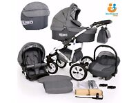 Pram buggy travel system car seat 3in1 pushchair many colours FREE UK DELIVERY