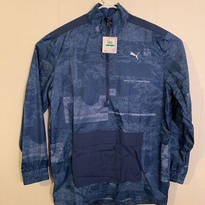 PUMA Mens Energy Windbreaker Jacket Blue Wind Cell Half Zip Pullover L New