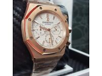 Complete Package Silver Rose gold and White face Audemars Piguet Royal Oak watch sweeping