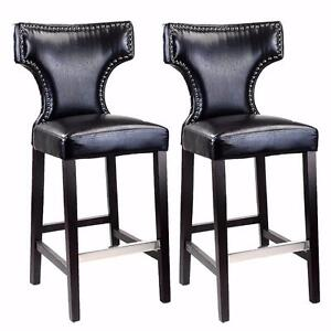 CorLiving DAD-809-B Kings Bar Height Barstool in Black with Metal Studs, Black, Set of 2 - Brand New