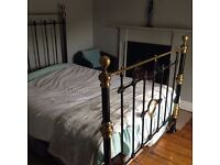 Antique Victorian Cast Iron and Brass Double Bed