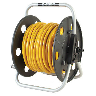 CLABER Lightweight Metal Reel with 100m of Microbore 6mm hose & Aquastop