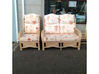 Cane furniturTwoSeater, Two Chairs and Coffee Table Set
