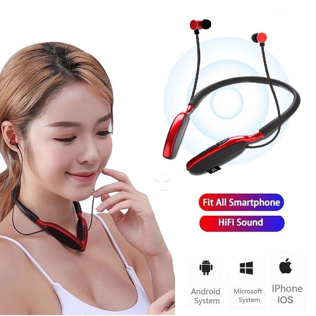 Bluetooth Neckband Headset Wireless Earphone Headphone Mic F