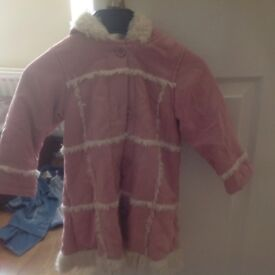 Pink suede coat with fur lining Age 2-3 years